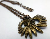 Antique Brass Necklace and Earrings, owls,  owl necklace
