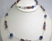 Swarovski Crystal Necklace and Bracelet, purple crystal bracelet, foil glass beads, floating necklace