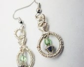 Silver Wire Wrapped Hoop Earrings, czech glass, green