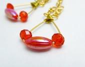 Red Swarovski Earrings, crystal earrings, red earrings, gold earrings, swarovski crystals