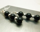 Black Agate Earrings, silver earrings, sterling silver, gemstone earrings, black gemstones