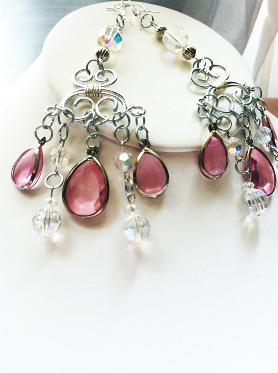 Pink crystal and swarovski chandelier earrings, princess, prom, bridal