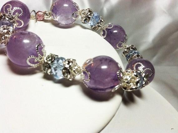 Natural Purple Amethyst Gemstone Bracelet and  Earrings, amethyst earrings, gemstone earrings