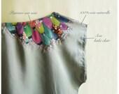 "Painted kaki silk top ""Royal budgie"""