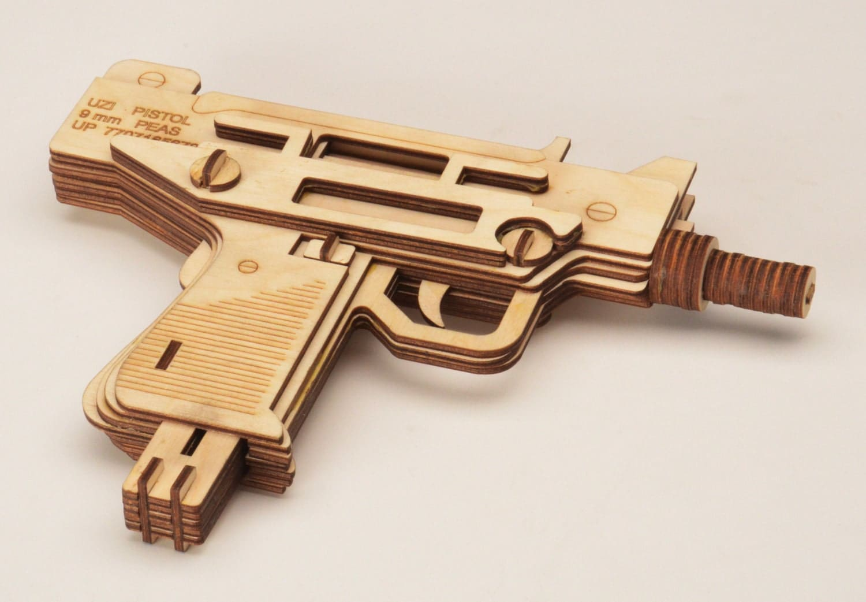Laser Cut Puzzle Model Uzi Machine Gun By Laserist On Etsy