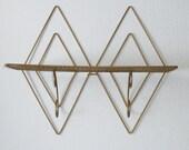 Retro Metal Double Diamond Shaped Wall Shelf