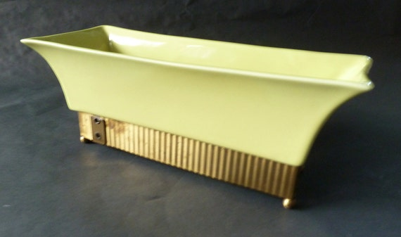 1950s Chartreuse Jacquelin Planter With Metal Base - Formerly A TV Lamp