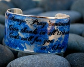 Rustic Cuff - Gold or Silver Plated Biblical Cuff - Be joyful, pray continually, give thanks in all circumstances... - O12