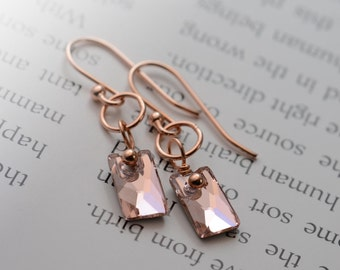 Rose Gold Earrings, Swarovski Crystal Earrings, Rose Gold Mirror Silver Foil Earrings, Dainty Romantic by harmonieandme
