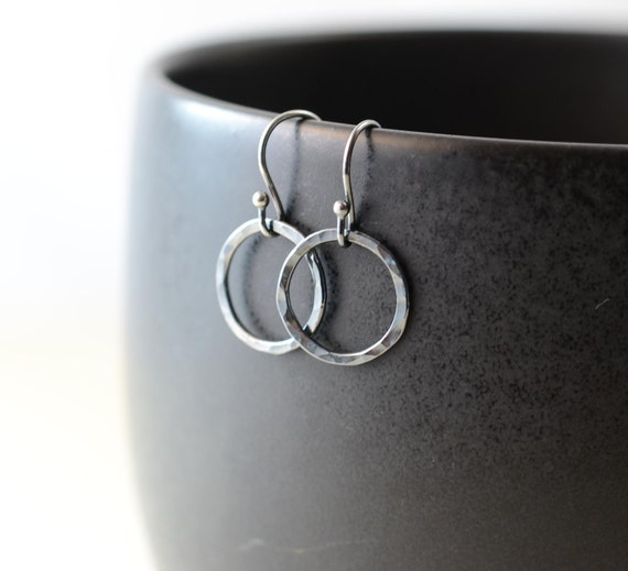 Blackened Sterling Silver Hoop Earrings, Hammered Oxidized Earrings, Must Have, Go To Pair, Round Circle