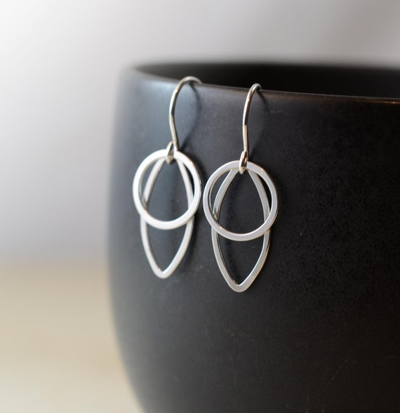 Sterling Silver Hoop Earrings, Hoop Earrings, Marquise Hoop Earrings, Modern Shapes, Geometric, Simple, Hoop Earrings