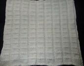 Cream / Off White Hand Knit Baby Blanket