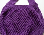 Bright Purple Handknit Reusable Shopping Market Bag