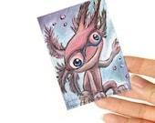 Axolotl ACEO Art Print Pink Salamander Glasses Illustration