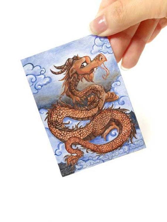 Clearance Sale: Dragon Print, ACEO Art Card, Fantasy Artwork, Orange Dragon, Blue Sky, Small Print, Flying Dragon, Chinese Decor