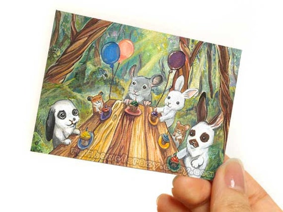 Birthday Art, Chinchilla Print, Bunny Rabbit ACEO, Hamsters Picture, Forest Animal Print, Birthday Party, Children's Print