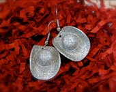 Cowgirl Hat Earrings - Silver Glittered Leather