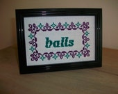 Completed Framed Cross Stitch - Balls