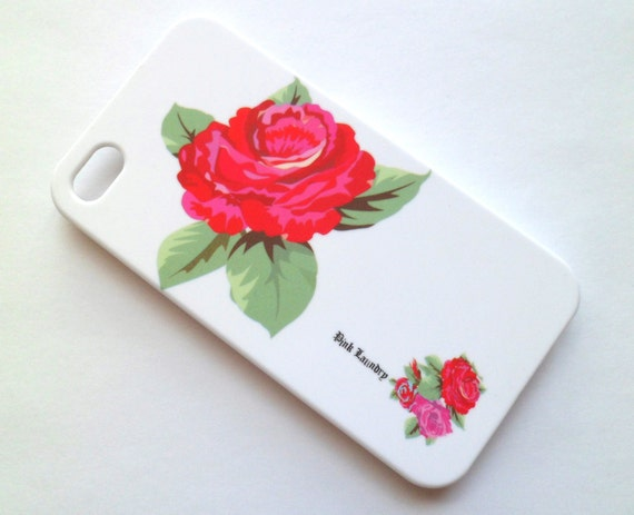 SALE Free Shipping Big Flower White Iphone 4 4S Rubberized Hard Case AT&T Verizon Sprint