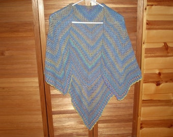 Women's Crocheted Washable Wool Shawl - Shades of blue, lavender, yellow