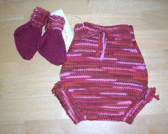 Handknitted Wool Diaper Cover/Soaker w/Socks - Size S