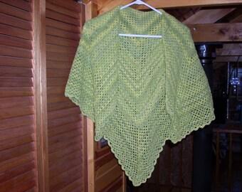 Women's Crocheted Washable Wool Shawl - Shades of green