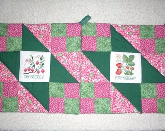 Quilted, Counted Cross Stitch Berry Motif Potholders