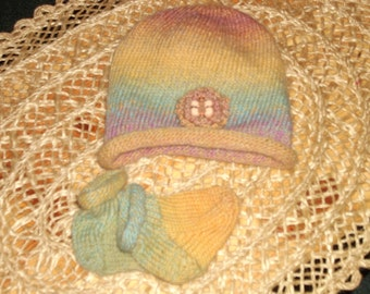 Handknit Wool Baby Hat & Matching Socks - Rust, gold, green, purple