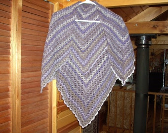 Women's Crocheted Washable Wool Shawl - Shades lavender, charcoal and white