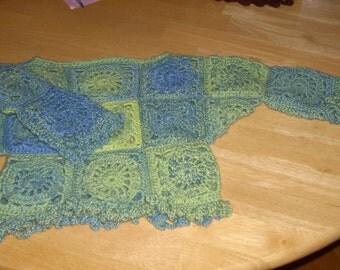 Kaleidoscope Washable Wool  Baby Sweater - 6-12 mos.