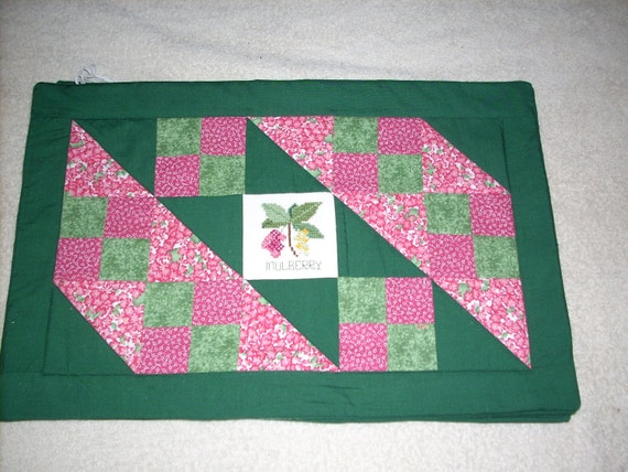 Quilted and Cross Stitched Berry Motif Placemats