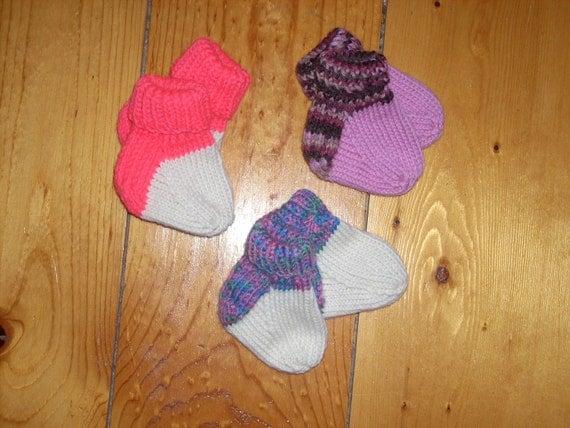 Wool Baby Socks - 3 Pair Handknit