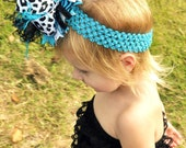 Girls Over the Top Black, Metallic, and Turquoise Boutique Hair Bow with Double Ostrich Puff Center