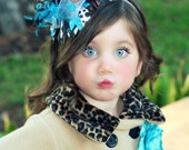 Girls Over the Top Brown and Turquoise Boutique Hair Bow with Double Layer Ostrich Puff and Matching Headband