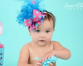 Over the Top Turquoise and Pink Cotton Candy Boutique Hair Bow with Curled Ostrich Puff Center