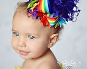 Girls Over the Top Rainbow Bright Boutique HairBow w Curled Ostrich Puff Center