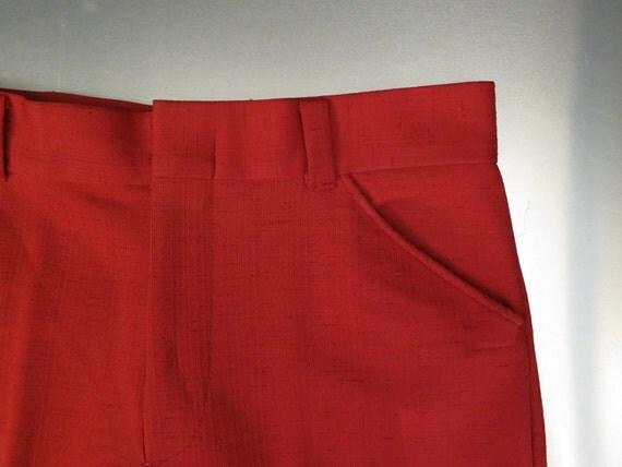 Pants: Mens Red Vintage Leisure Slacks