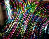 25 Whiting SIlver Grade Grizzly Feather Extensions Rainbow Salon Package w/Beads
