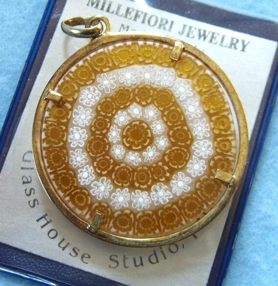 Vintage Millefiori Pendant Studio Art Glass Jewelry