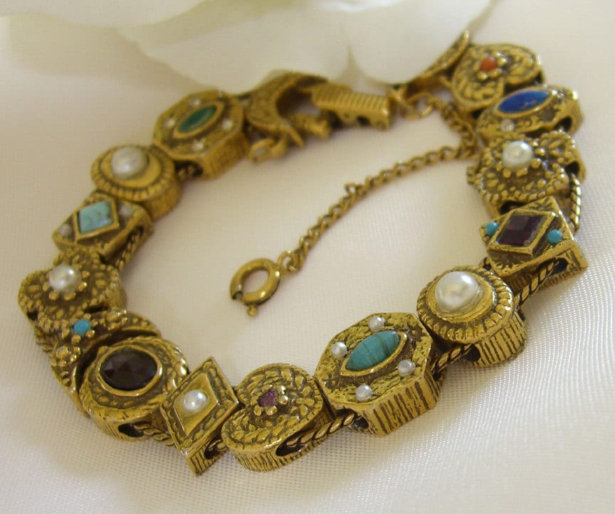 slide charm bracelet goldette ny 1950s vintage