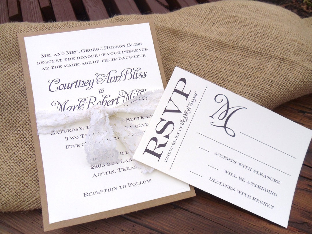 Kraft Paper Amp Lace Wedding Invitation Set By Paperandlaceshop