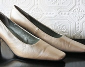 Vintage Glam Genuine Leather Champagne Gold Beige Pearlized Pumps Size 7M