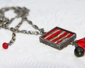 Red Olive Green and Ivory & Antique Silver Felt Pendant Necklace