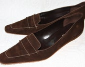 Vintage Brown Suede Leather Loafers Banana Republic