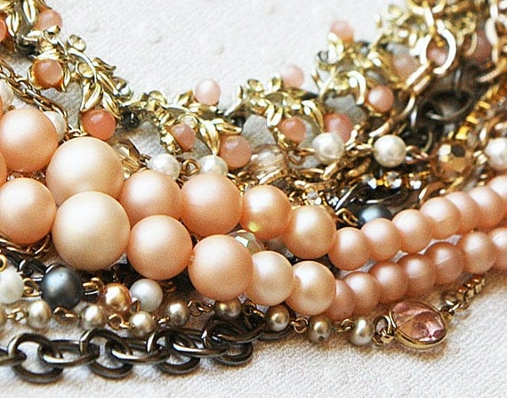 Reserved Vintage Chunky rhinestone Pearl and Chain Necklace