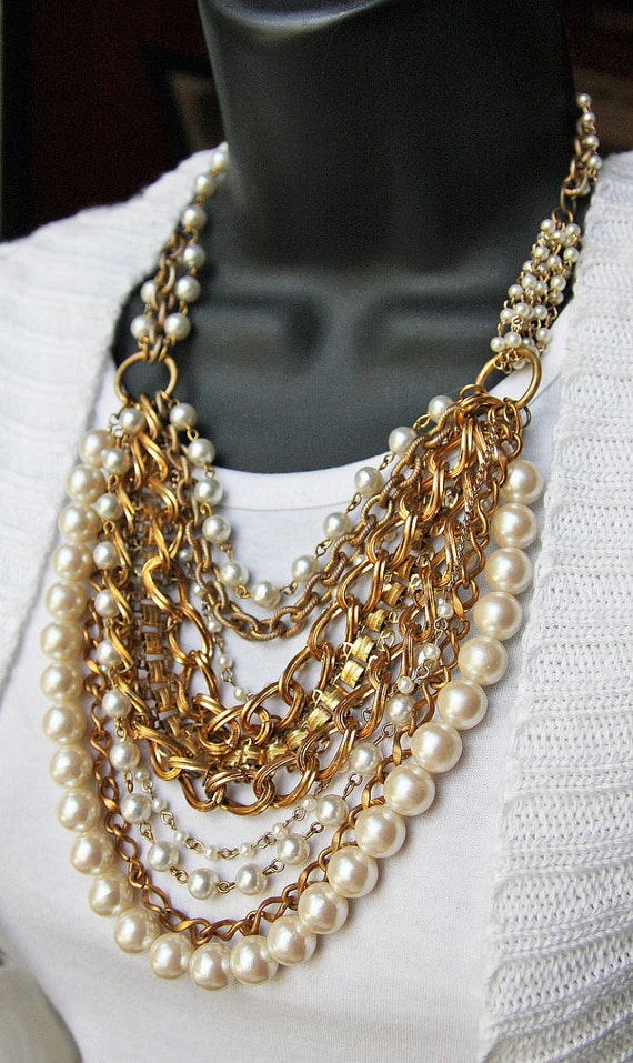 Vintage Antique Gold Chain & Pearl Layered necklace