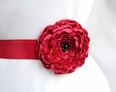 Red Flower Ribbon Sash/ Handmade Accessory/ Free Shipping on Additional Items