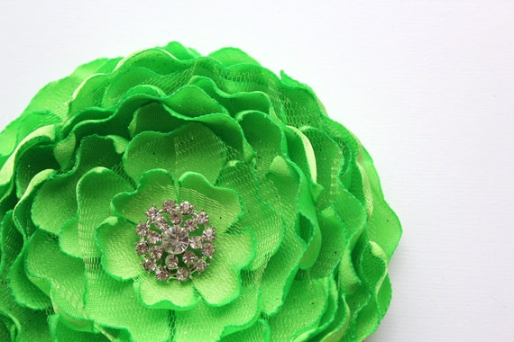 Lime Green Flower Brooch/ Hair Clip/ Applique/  Sash Pin/ Handmade Accessory/ Free Shipping on Additional Items