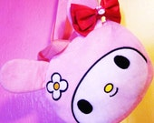 Cyber Monday Sale 25 percent off xX Hello Melody Xx Kawaii Handbag with matching Hot pink hair bow Cruelty Free