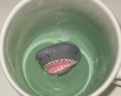 Shark Mug, Shark Coffee Mug, Hidden Shark in Surprise Mug, Handmade Animal Mug (Made to Order)